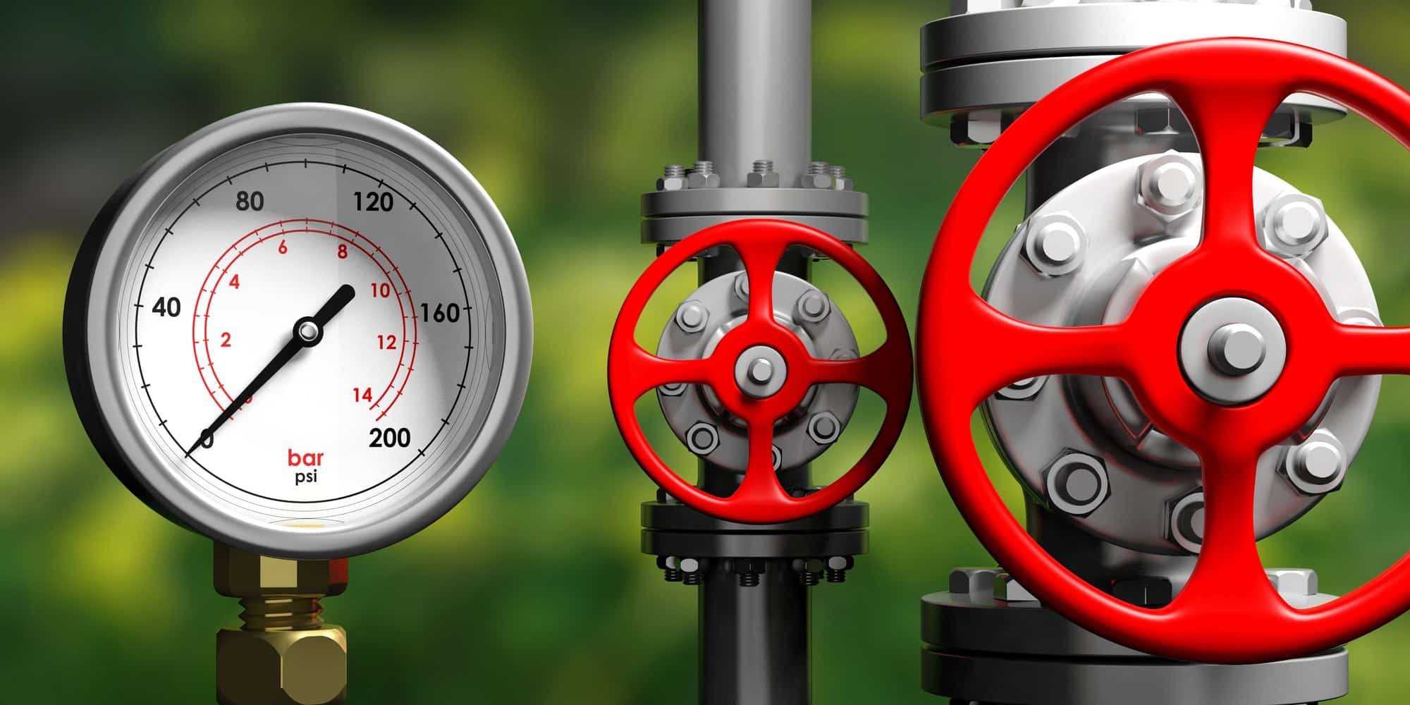 Industrial manometer, pipelines and valves on blur green background, 3d illustration